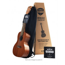 Official Kala Learn to Play Ukulele Concert Starter Kit, Satin Mahogany – Includes online lessons, tuner app, and booklet